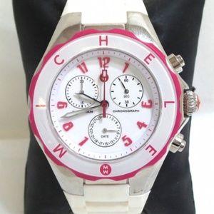 Michele White/Silver/Pink Tahitian JellyBean Watch